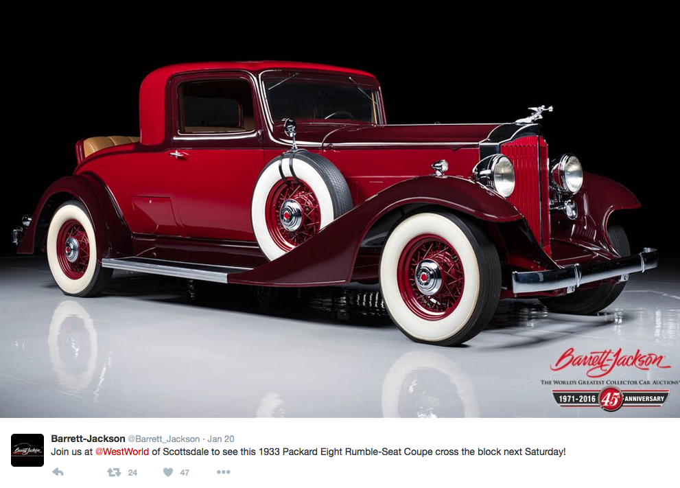 """The 45th annual Barrett-Jackson """"World's Greatest Collector Car Auctions"""" will take place in Scottsdale, Ariz., from Jan. 23-31. Visit the At Home Fitness booth to see some elite fitness equipment as well."""