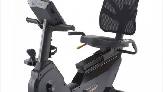 Sit down on a recumbent bike, such as this LifeCore Fitness 860 RB, or stationary bike and get your heart rate up while giving the joints a break.